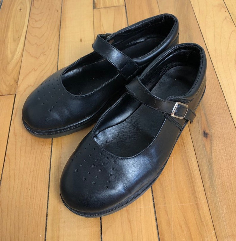 1a58019f2e517 Vintage 1990s 90s Girls Black Leather Mary Janes Jane Dress Shoes! Size US  13