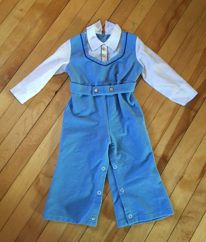 99c4d49360e1 Vintage 1970s Baby Infant Boys Blue Corduroy One Piece Romper