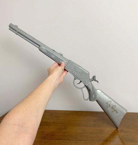 Vintage 1950s 50s Roy Rogers Silver Grey Plastic Wild West Toy Rifle Pop Cap Gun!