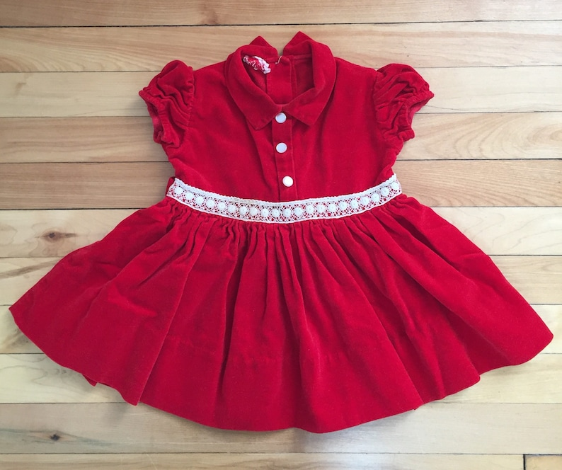 4bffb32f805 Vintage 1950s Toddler Girls Red Velvet Lace Christmas Holiday