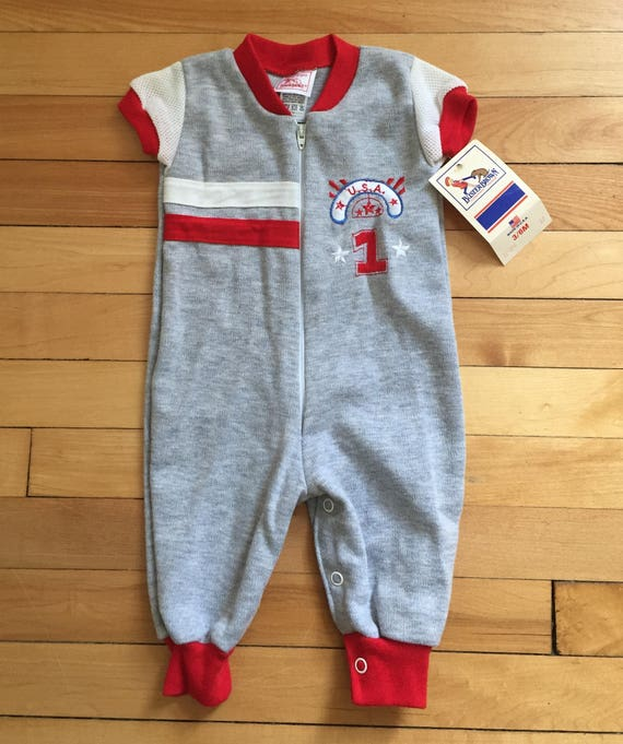 4fddbd62 Vintage 1980s Baby Infant Boys Grey Buster Brown One Piece Sports Outfit  Romper! Size 3-6 months