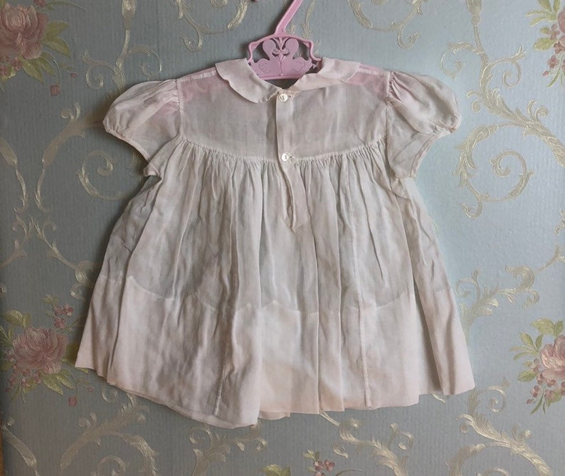 Vintage 1950s 50s Baby Infant Girls White Pink Embroidered Floral Semi Sheer Feltman Bros Handmade Dress Size 6-12 months
