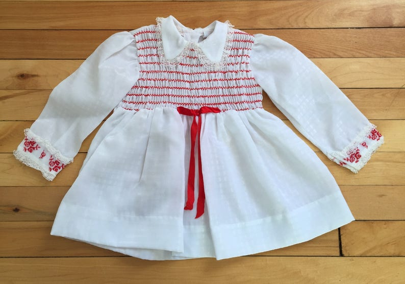 d85b704f89 Vintage 1970s Baby Infant Girls White Red Smocked Embroidered