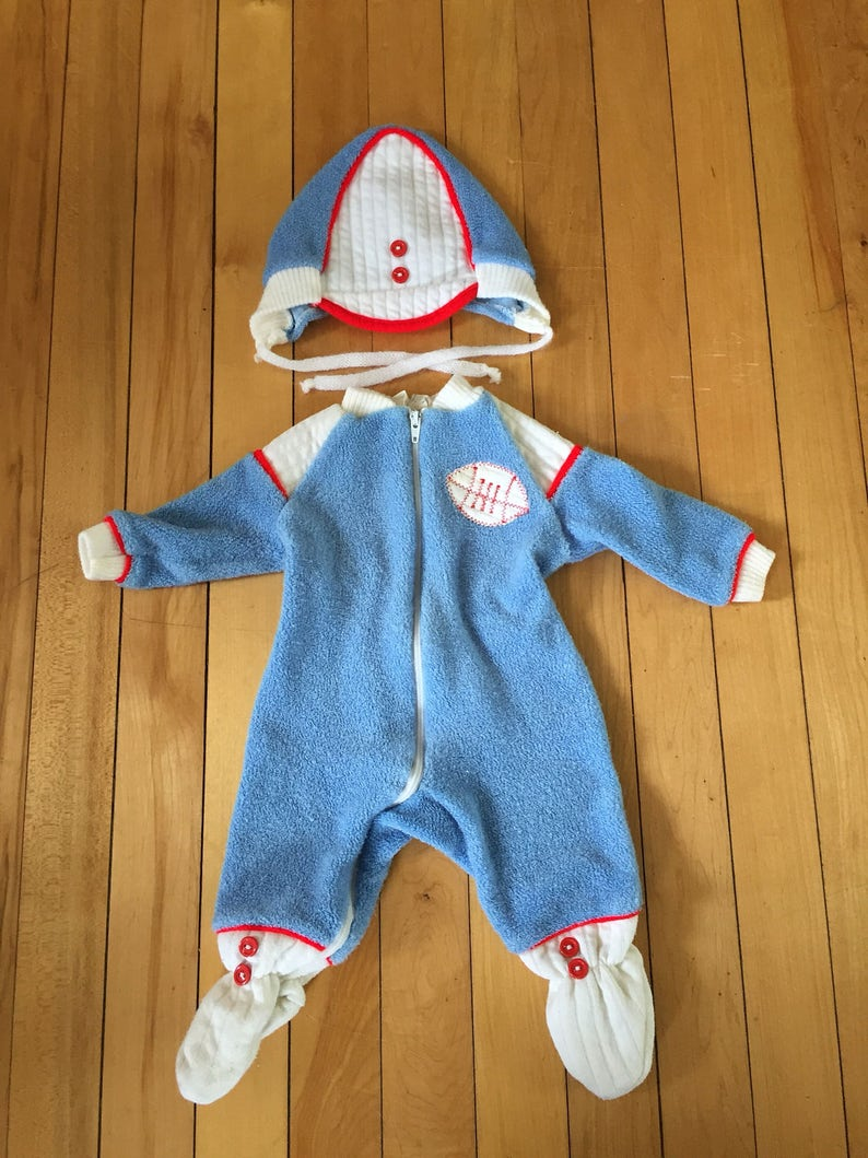 95f718cb051a Vintage 1980s Baby Infant Boys Blue Terry Cloth Football
