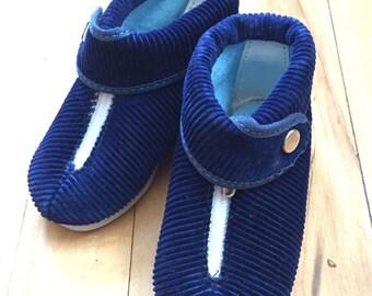 Vintage 1950s Baby Infant Boys La Parisette Blue Corduroy Hard Sole Booties Shoes!