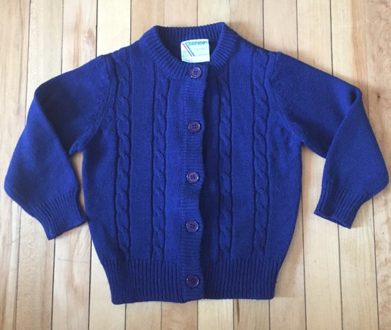 Blue Cable Knitted Boy/'s Cardigan