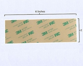 3M 467MP Double Sided Tape - 2 x 6 Inch Strips - Waterproof and UV Resistant - Transfer Tape - High Temperature