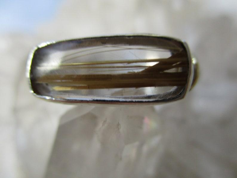 Rutilated Quartz Ring ~Sterling Silver /& 18K Gold~ Handmade w Natural Rare Stone