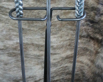 Hand Crafted Wrought Iron Fire Place Tool Set