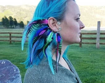 Feather Ear Cuff / Gift / Custom / Festival / Fashion / Feathers / Boho / Bohemian / Spring / Adjustable - MADE TO ORDER
