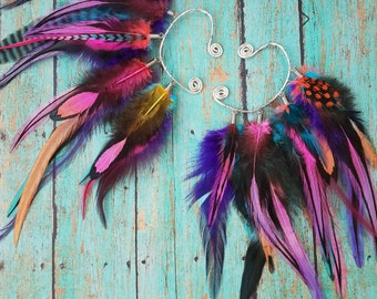 Feather Ear Cuff / Adjustable / Colorful / Custom / Pick your Colors / Festival / Costume / Fashion / Spring - MADE TO ORDER