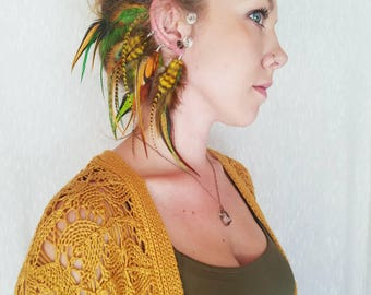 Feather Ear Cuff / Custom / Feather Jewelry / Boho Jewelry / Festival / Costume / Feather Earring / Hand dyed or Natural Feathers /