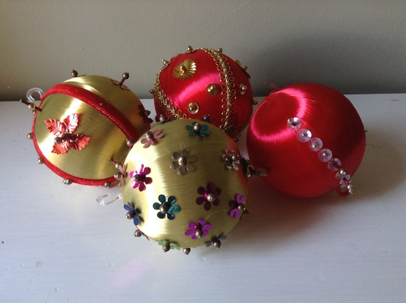 image 0 - 4 Vintage Decorated Satin Christmas Ball Ornaments. Gold And Etsy