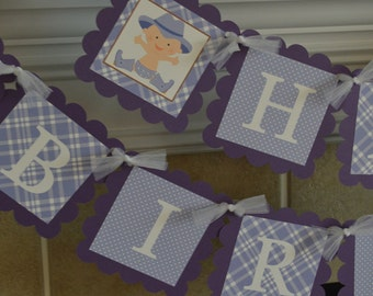 Cowgirl Theme Happy Birthday Banner - Purple Cowgirl - Western Party - Western Theme -  Party Packs Available