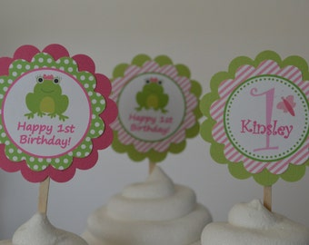Frog Cupcake Toppers - Frog Party - Frog Birthday - Pink and Green Frog Party - Set of 12