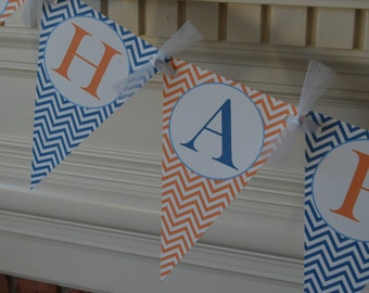 Happy Birthday Pennant Banner - Chevron Pennant Banner - Pennant Banner - Custom Name Banner - Chevron Banner - Party Packs Available