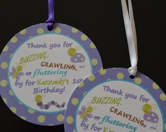 Bug Favor Tags - Bug Theme Favor Tags - Bug Hang Tags - Purple Bug Tags - Bug Party - Set of 12