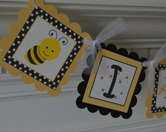 I am 1 Bee Banner - Bee Birthday - Bumble Bee Banner - Bee Party - Bee Highchair Banner - I am ONE- 1st Birthday Banner - Honey Color