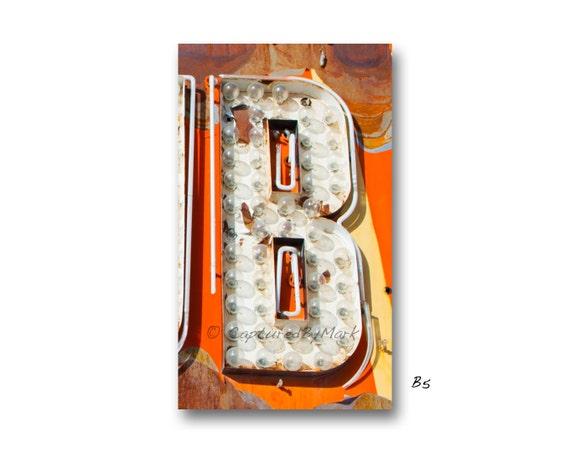 Letra arte alfabeto letra B Vintage Vegas neón Letras | Etsy