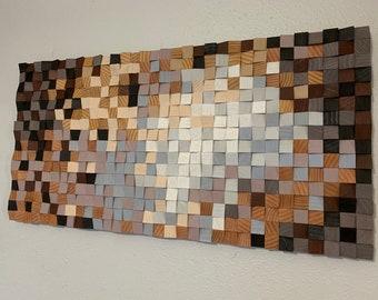 """Wood wall art, wood wall decor, wood wall panel art, 3D wood wall art, wood wall art large, 24"""" x 48"""" art, wood diffuser art, FREE SHIPPING!"""