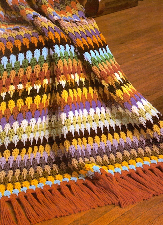 Tier Drop Afghan Vintage Crochet Blanket Pattern Retro Etsy