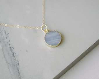 Blue Lace Agate Necklace Jewellery Woman Gemstone Necklace Jewelry Gift For Her Sterling Silver Plated Gift For Girl Necklace Pendant