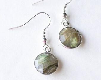 Silver Labradorite Earrings / dainty earrings / Round Labradorite Earrings / labradorite gift for her