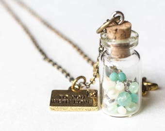 GREEN MESSAGE in a BOTTLE Necklace / message in a bottle necklace / beach bottle necklace / under the sea necklace / sand bottle necklace