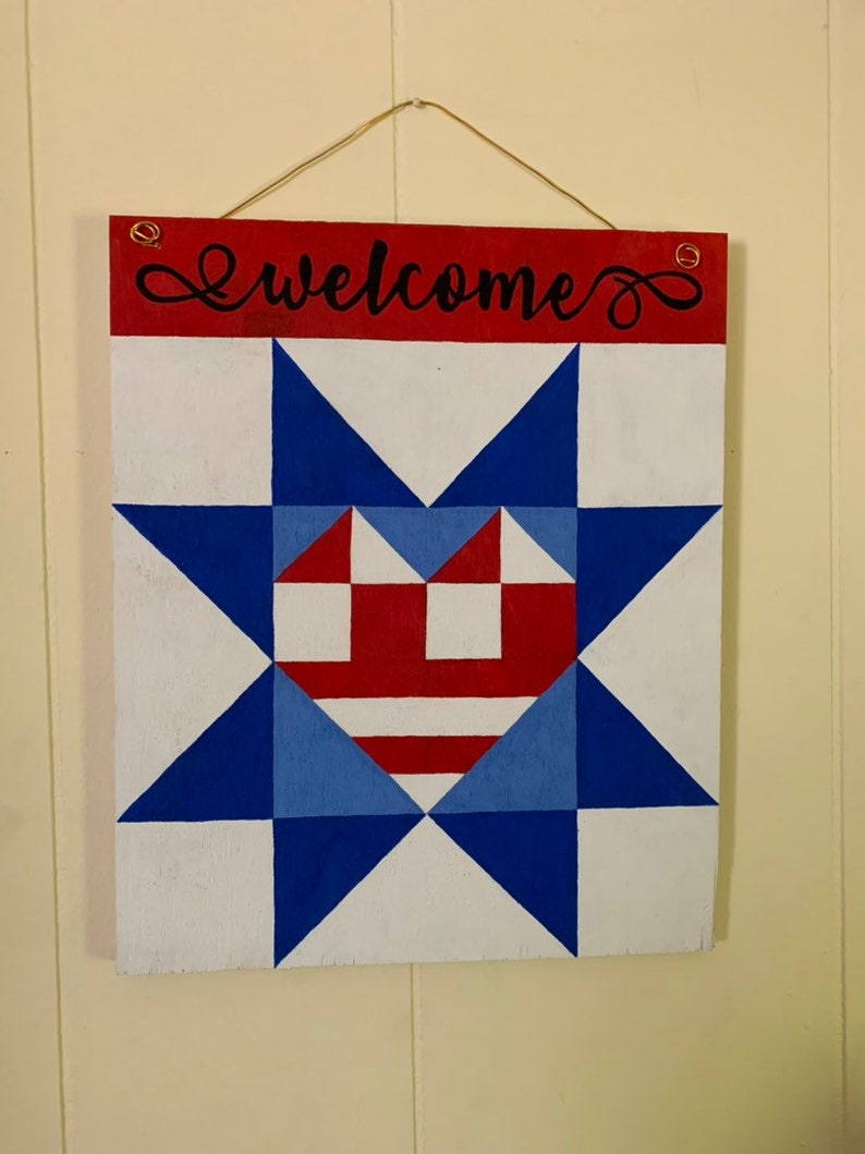 Door Hanger Free Shipping Patriotic Barn Quilt Door Hanger Patriotic Door Hanger Americana Flag Barn Quilt Door Hanger Flag Barn Quilt