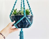 Macrame PLANT HANGER Turquoise and Blue Natural Cotton Hand Dyed Hanging Planter Handmade in CANADA