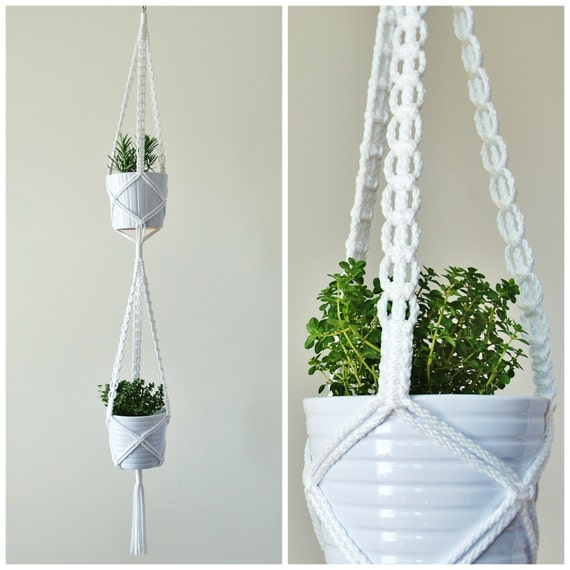 Double Macrame Plant Hanger Two Tiered Hanging Planter 2 Plant Holder Handmade In Canada