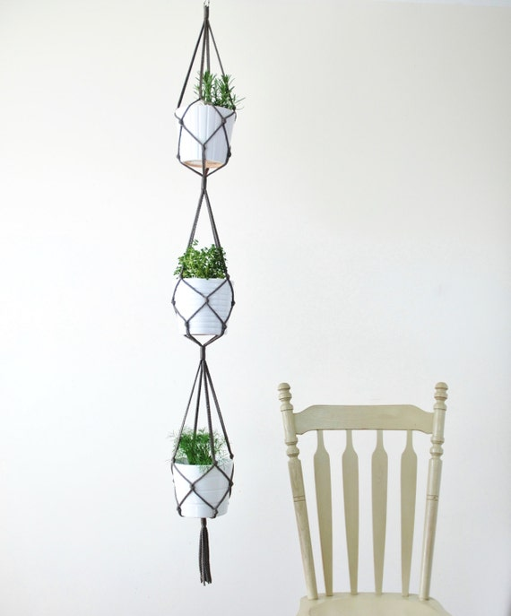 Three Tiered Macrame Plant Hanger Simple Hanging Plant Etsy
