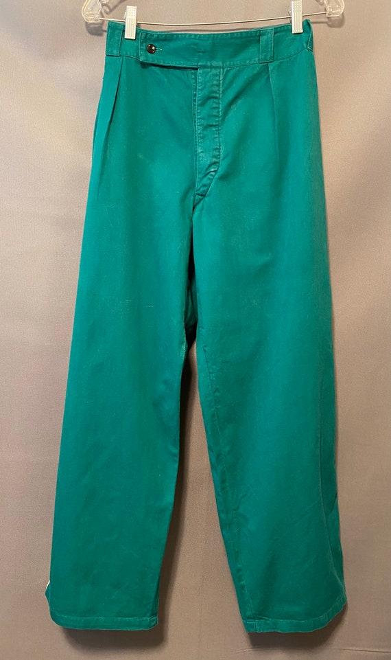 1940's Women's Pants Green Twill Sport Dungarees A