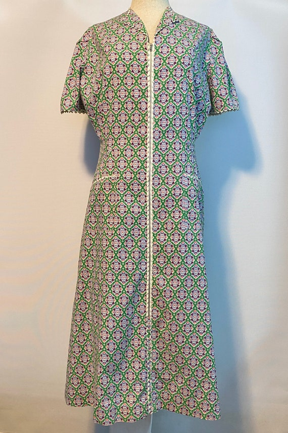 1940's Cotton Print Day Dress Sz XL
