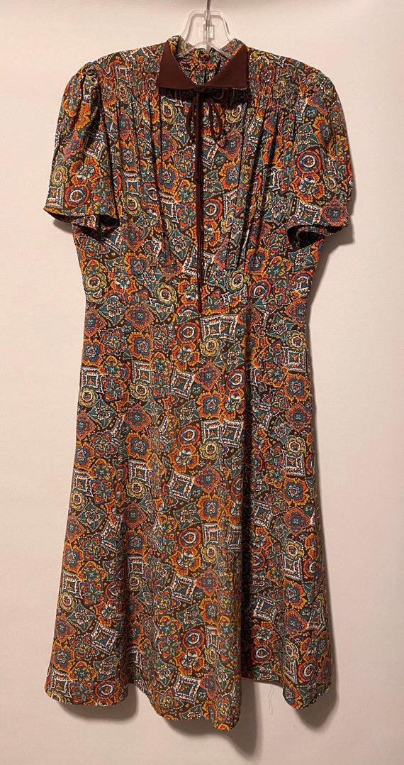 1940's Rayon Print Dress