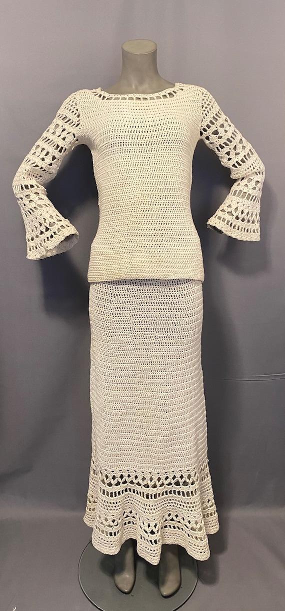 Vintage Crochet Dress Set 1930's 1970's Wedding Dr