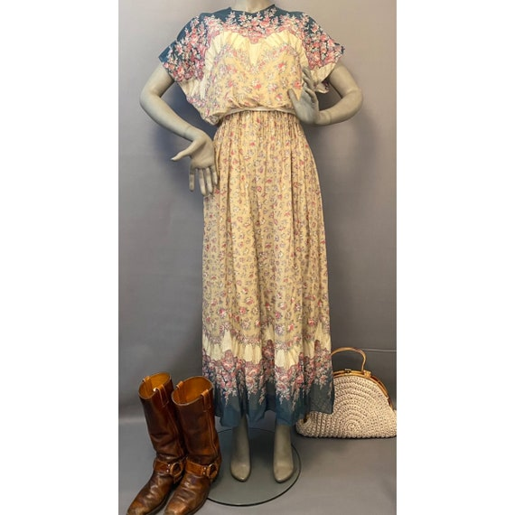 70's Prairie Dress Long Floral Maxi Dress Gunne Sa