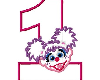 Abby cadabby embroidery design etsy purple girl abby first 1 one birthday applique design applique machine embroidery design 4x4 and 5x7 maxwellsz