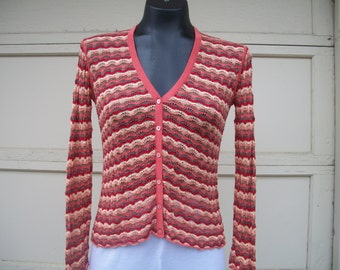 Vintage Tommy Bahama Cardigan in Fall Colors circa 1990