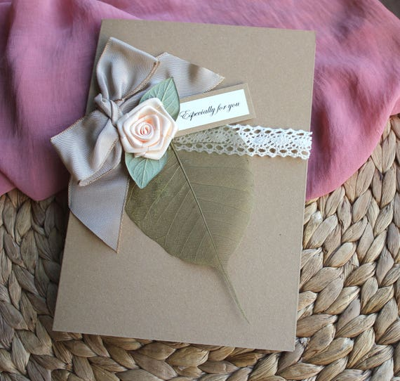 wife anniversary card handmade 4th anniversary card linen