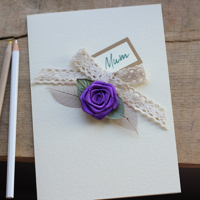 Personalised Handmade Birthday Card Mum Purple Rose Violet Floral Greeting For Girlfriend Wife Sister Daughter A