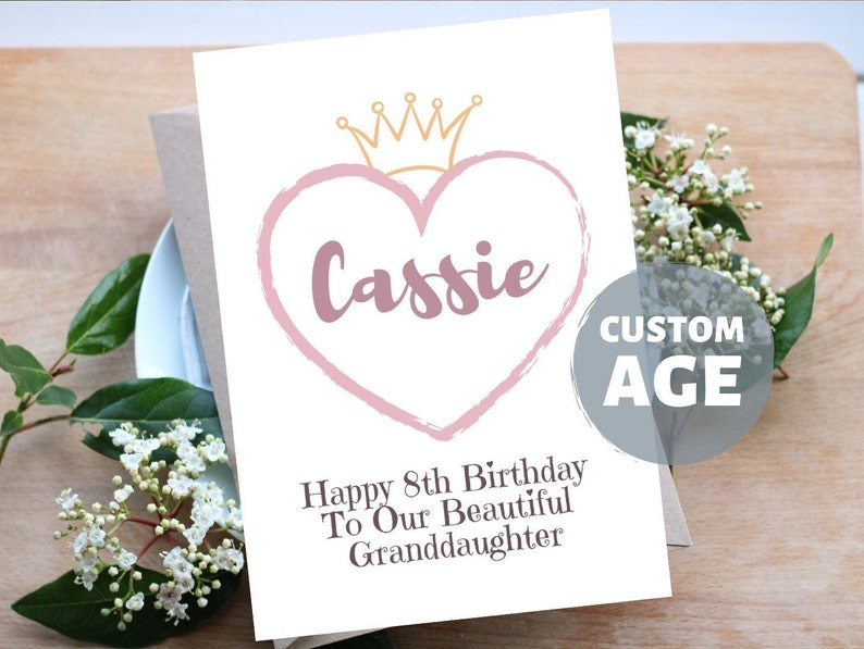 8th Birthday Card, Personalised Name, Elegant Eight Birthday Gift for  Grandaughter from Grandparents, Princess Crown, Dusty Pink Heart