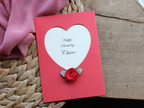 Happy Birthday Card A6 Size PERSONALISED Cute Red Heart