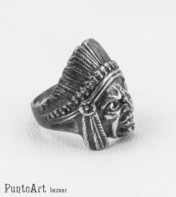 Gothic Jewelry Ring Sterling Silver 925 Hipster Ring Steampunk Ring Contemporary Ring Skull Ring Motorcycle Ring Indian Silver Ring