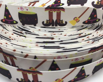 3 yards Halloween Witch Brew witch hat broom feet grosgrain ribbon