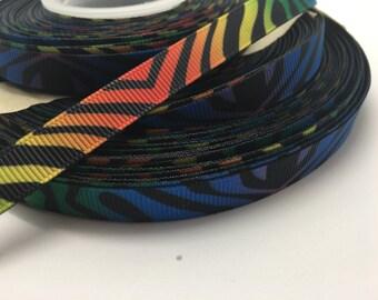 """3 yards 3/8"""" Black Multi colored ZEBRA Animal Print Grosgrain Ribbon"""