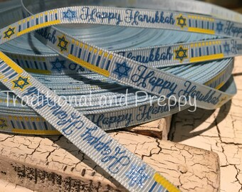 "3 YARDS 3/8"" HANUKKAH Light Blue Menorah Star of David Glitter Grosgrain Ribbon"