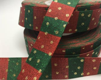"""3 yards 7/8"""" Christmas red and green with gold metallic grosgrain"""