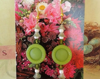 Chartreuse Earrings, Vintage Buttons, Beads, Free shipping