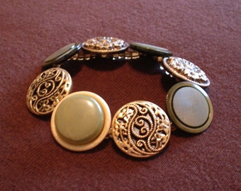 """Vintage Gold and Sage Buttons Bracelet, 6 to 6.5"""" wrist, stretchy"""